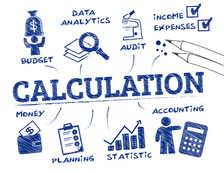 calculation: calculation concept. Chart with keywords and icons Illustration