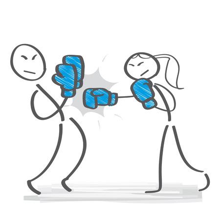 power struggle - woman and man boxing
