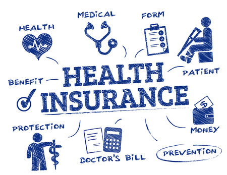 health insurance. Chart with keywords and icons