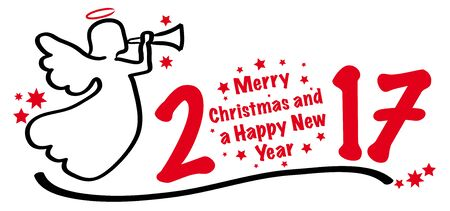wishing card: Vector merry christmas and a Happy New Year 2017