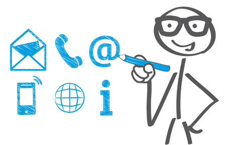 Businessman drawing contact icons Ilustracja