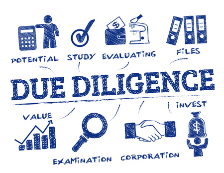 diligence: Due Diligence. Chart with keywords and icons Illustration