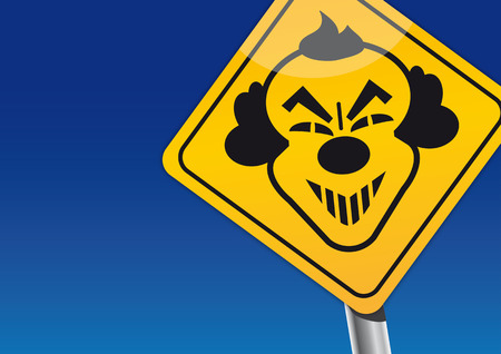 terrifying: traffic sign of a scary evil clown