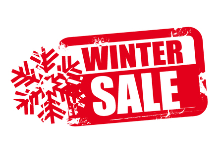 daubed: winter sale word red stamp text on white background Illustration