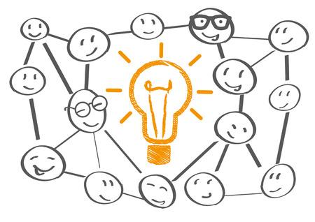 チーム会議ブレーンストーミング計画ベクトル図  イラスト・ベクター素材