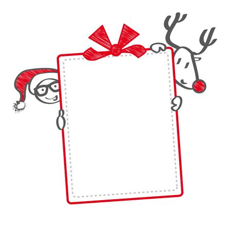 reindeer and Santa holding christmas gift voucher Illustration