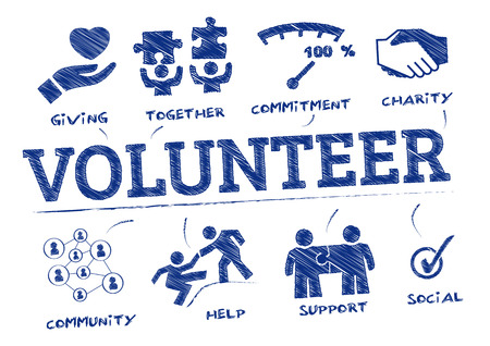 volunteer. Chart with keywords and icons Illustration