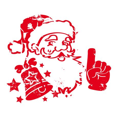 red santa claus with bell and stars