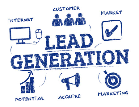 Lead generation. Chart with keywords and icons 일러스트