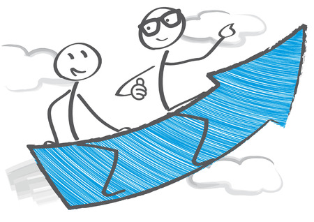 Two stick figures flying on blue arrow