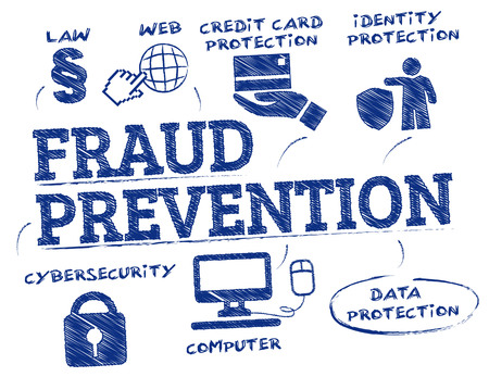fraud prevention. Chart with keywords and icons Illustration