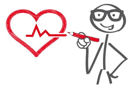 Stick figuredrawing heart - medical checkup concept