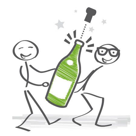 Two stick figures carry a champagne bottle. Champagne bottle explosion - vector illustration