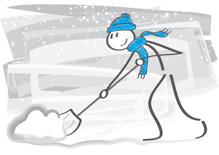 Stick figure with snow shovel cleans sidewalks in winter
