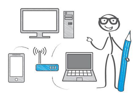 Wireless Network illustration. Wifi zone.