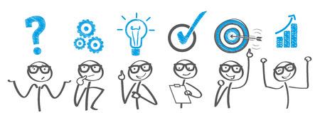 Reunión creativa. El hombre de negocios la solución de un problema Ilustración de vector