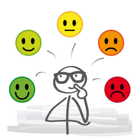 Feedback vector concept. Rank, level of satisfaction rating. Stick figure illustration Stock Illustratie