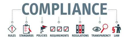 Banner compliance concept. Keywords and pictograms