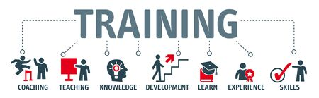 Banner Training concept. Keywords and vector icons Stock Illustratie