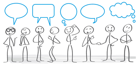 stick figures with dialog speech bubbles