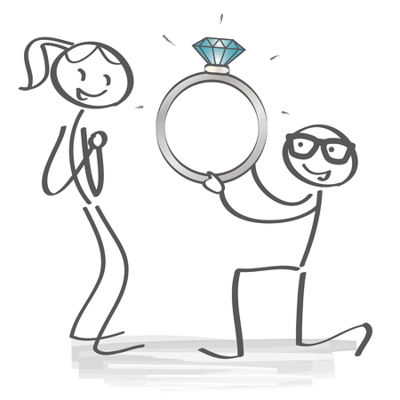 girlfriend: man asking marry to his happy girlfriend. Vector Illustration with Stick figures