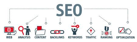 バナーの SEO 検索エンジン最適化の概念。キーワードとピクトグラム  イラスト・ベクター素材