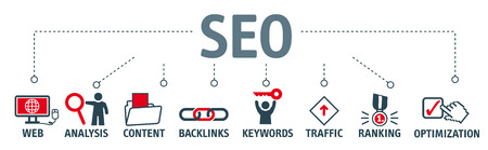 Banner SEO search engine optimization concept. Keywords and pictograms Illustration