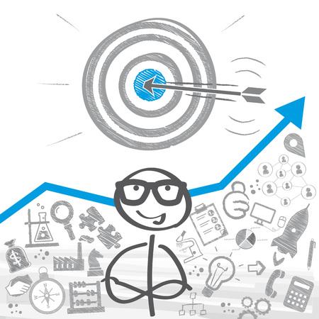 Stick figure stojący przed koncepcją wyznaczania celów Ilustracje wektorowe