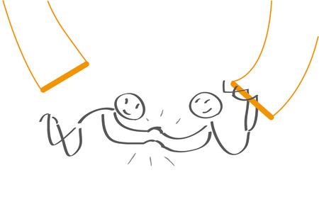 空中ブランコのアーティストが自信を持ってください。