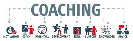 バナー コーチング コンセプト。キーワードとピクトグラム  イラスト・ベクター素材