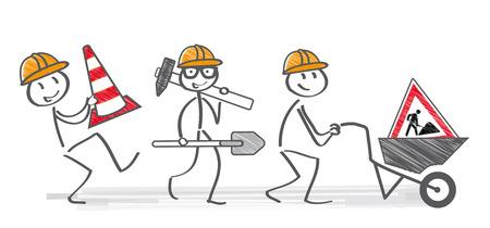 men working. Stick figures building site equipment
