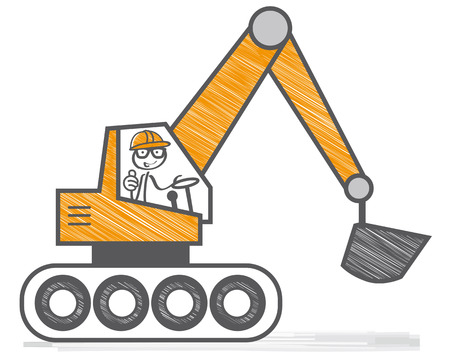 Hydraulic excavator at work- cartoon of merry power-shovel