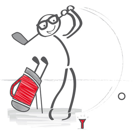 How to Hit a Straight Tee Shot. Stick figure vector illustration