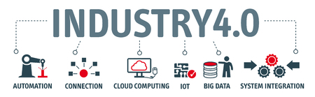 Industry 4.0. Banner with keywords and icons