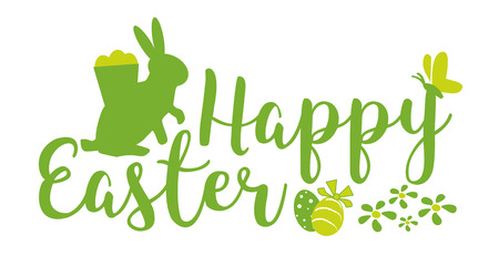 Greeting card text with Easter eggs, easter bunny, isolated on white background. Happy easter lettering modern calligraphy style