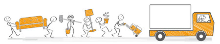 Team carrying boxes and furniture into a moving van Illustration
