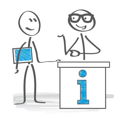 Advices. Stick figure needs an expert advice Illustration