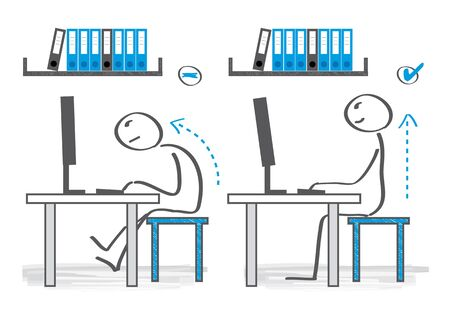How You Should Be Sitting at Your Desk. Vector Illustration 일러스트
