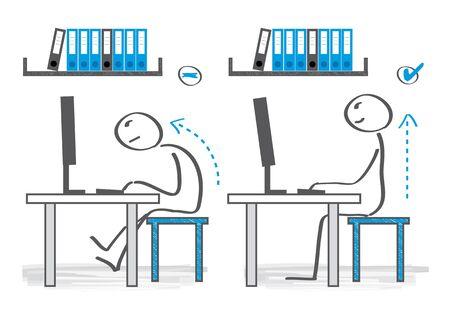 How You Should Be Sitting at Your Desk. Vector Illustration Illustration