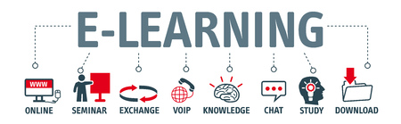 studying computer: Banner e-learning concept. Chart with symbols and kewords.