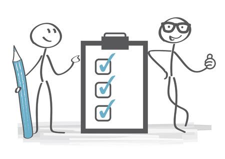 Team holding klembord met checklist en potlood. Stock Illustratie