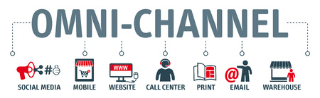 omnichannel concept. Banner with keywords and icons