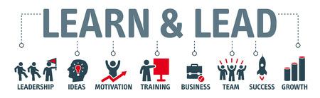 Banner aprender y liderar. Banner con palabras clave e iconos