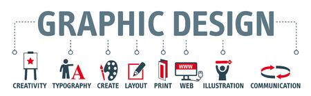 Grafikdesign. Banner mit Schlüsselwort und Icons Standard-Bild - 77831018