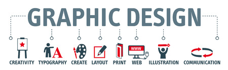 Graphic design. Banner with keyword and icons Stock Illustratie