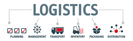 logistics. Banner logistics with keyword and vector icons Ilustrace