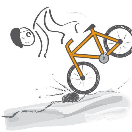 Le motard tombe de la moto sur le sol