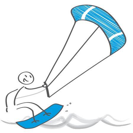 Kiteboarding. Azione e divertimento nell'oceano - illustrazione vettoriale Vettoriali