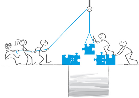 Business people team bouwen een puzzelbrug