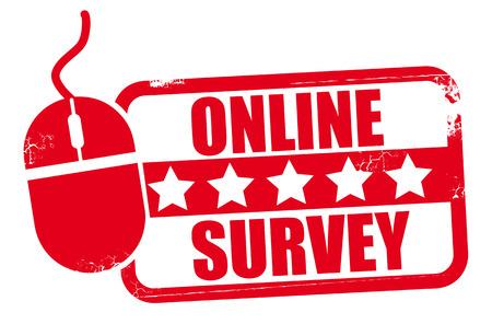 square grunge red online survey stamp